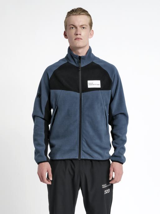 HALO ZIP FLEECE, WHITE/DRESS BLUE, model