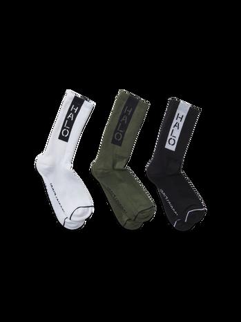 HALO LOGO SOCKS 3-PACK, BLACK/OPTIC WHITE/DARK ARMY, packshot